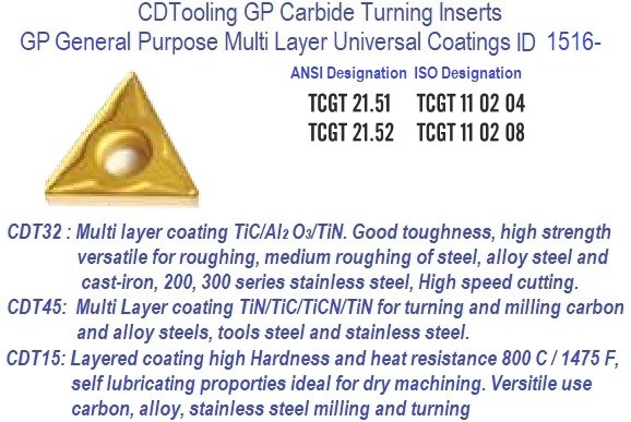 TCGT-, 21.51 21.52 TCGT 110204, 110208 GP Grade Indexable Carbide Inserts 10 Pack ID 1516-