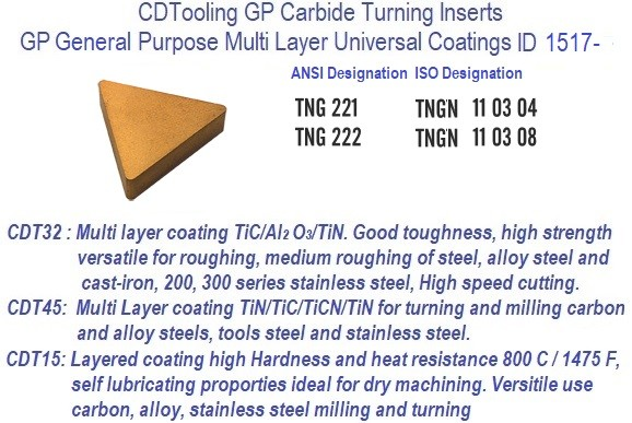 TNG-, 221, 222, TNGN 110304, 110308 GP Grade Indexable Carbide Inserts 10 Pack ID 1517-