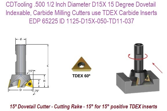 .500 1/2 Inch Diameter D15X 15 Degree Dovetail, Indexable, Carbide Milling Cutters use TDEX Carbide Inserts EDP 65225 ID 1125-D15X-050-TD11-037