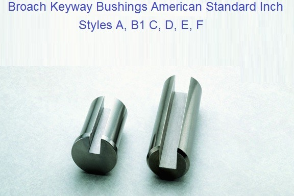 Broach Keyway Bushings Style A, B, C, D, E, F Inch Sizes 1/4 to 3 inch ID 1171-