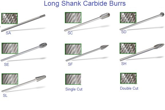 Carbide Burrs 6 inch Long Shank, Shapes SA SB SC SD SE SF SG SH SL SM Sizes,1L6 3L6 4L6 5L6 ID 1197-