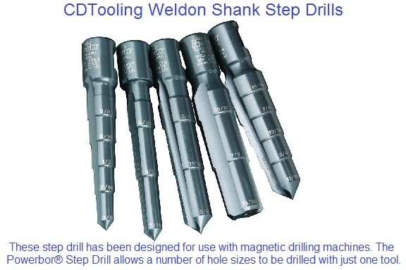 Step Drill Weldon Shank HSS for Mag Drills 5/16 - 2-1/16 Diameter ID 1658-