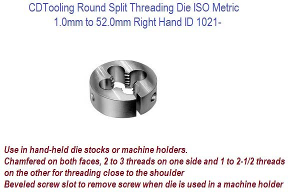 Round Split Threading Die ISO Metric 1.0mm to 52.0mm Right Hand ID 1021-