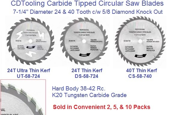 Circular Saw Blades Carbide Tipped 7-1/4  24 and 40 Tooth Alternate Top bevel