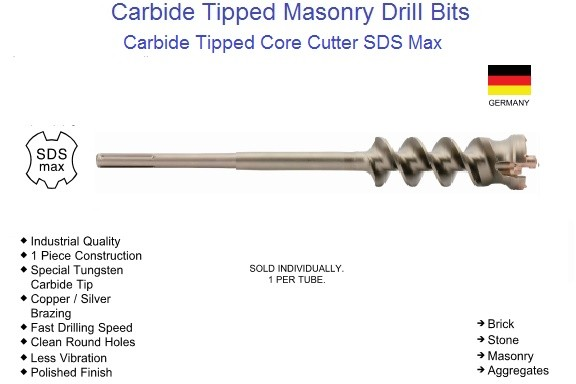Carbide Tipped Tunnel Core Bit Cutter SDS Max Drive 1-1/2 to 3-1/8 Inch ID 1563-