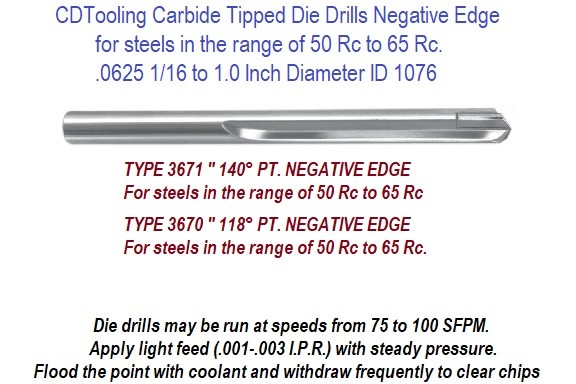 Carbide Tipped Hard Die Drill Negative Point, Drilling 50-65 Rc Inch and Metric Series 3670 and Series 3671 ID 1076-