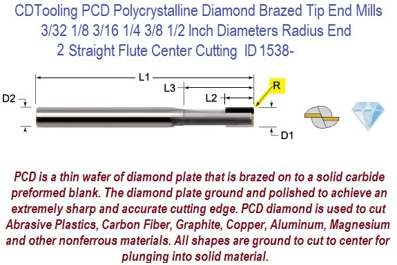 PCD Polycrystalline Diamond Brazed Tip Radius End Mills  3/32,1/8,3/16,1/4, 3/8 1/2 3/4 1 Inch 2 Straight Flutes Center Cutting ID 1538-