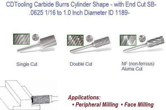 SB- Cylinder Shape Carbide Burrs with End Cut Peripheral and Face Milling ID 1189-