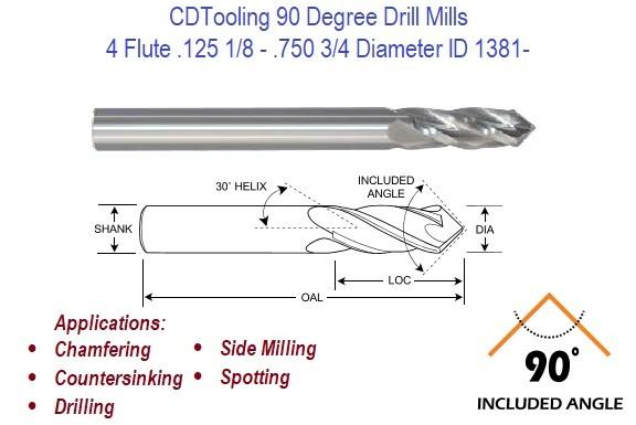 .125 1/8 - .750 3/4 Diameter 4 Flute 90 Degree Carbide Drill Mill  ID 1381-