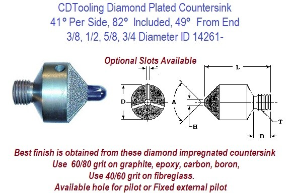 41 Per Side, 82 Included, 49 From End, 3/8, 1/2, 5/8, 3/4 Degree Diamond Plated Stop Countersink ID 14261-