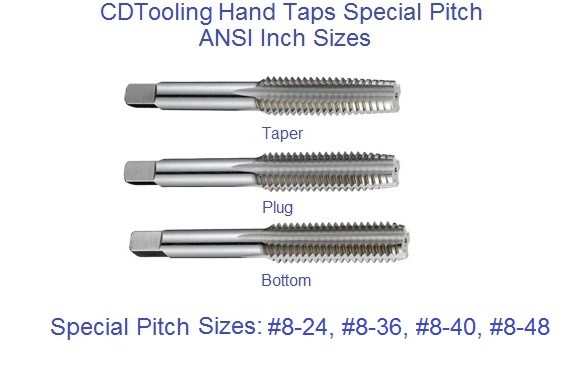8-24, 8-36, 8-40, 8-48, Hand Tap High Speed Steel Taper Plug Bottom