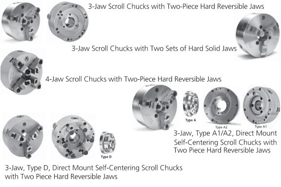 Scroll Chucks 5 6 8 10 12 16 20 25 inch Self-Centering Precision 3 and 4-Jaw