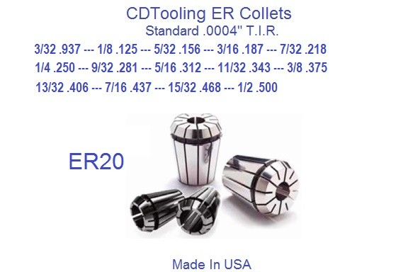 ER20 Collets USA 3/32, 1/8, 5/32, 3/16, 7/32, 1/4, 9/32, 5/16, 11/32, 3/8, 13/32, 7/16, 15/32, 1/2 ID 1916-