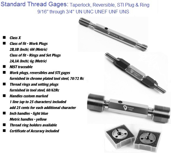 Standard Thread Gages Work Plugs, Rings and Set Plugs 9/16