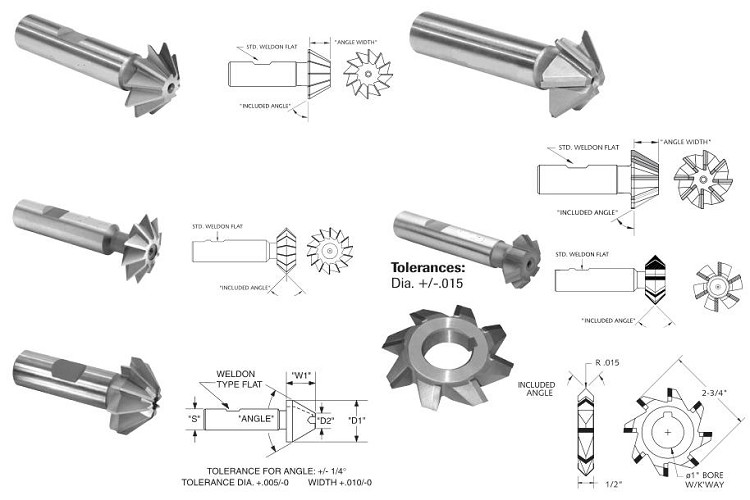 Milling Cutter,Single, Double, Angle, HSS, HSCO, Carbide ID 946
