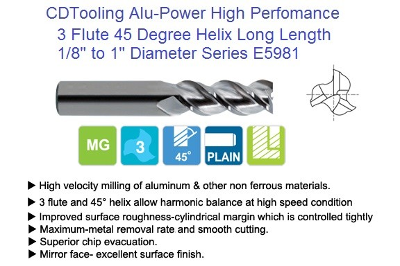 3 Flute 45 Degree Alu-Power Carbide End Mill 45 Degree High Helix Long Length Series 5981 1/8 -1