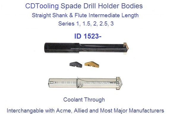 Spade Drill Holder Body Straight Flute Shank Intermediate Length 45/64  to 1-1/8
