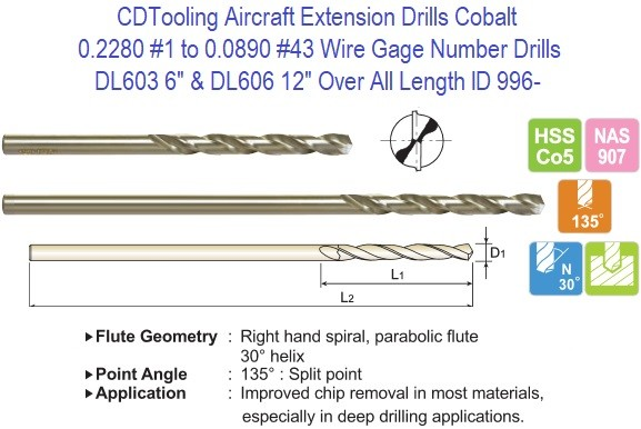 Aircraft Extension Drill Bits Split Point 0.2280 No 1 to 0.0890 No 43 Inch Dimater 6 and 12 inch Lengths Cobalt DL603 DL606 ID 996-