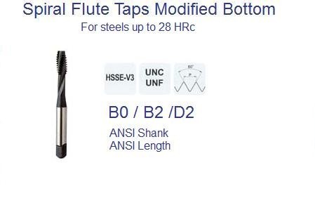 Spiral Flute UN Modified Bottom Taps 2-56 to 1-1/2-6 ANSI Stainless and Steels to 28 HRc ID 1150-